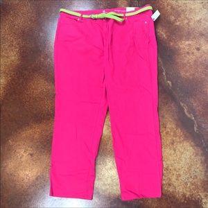 NWT Liz Claiborne pink capris 24W